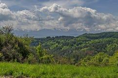 Beau paysage de nature de printemps avec la clairière et la forêt vertes en montagne de Plana vers la montagne de Rila Photographie stock libre de droits