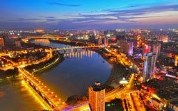 Beau paysage de nuit de Nanning photo libre de droits