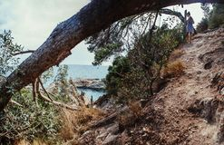 Beau paysage en Espagne Été Voyage Femme Images stock