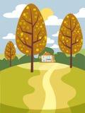 Beau paysage lyrique et romantique d'automne, humeur, bande dessinée, bannière, illustration de vecteur Photo libre de droits