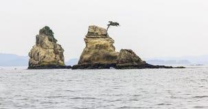 Beau paysage marin avec des roches à Matsushima, Japon. Image libre de droits