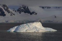 Beau paysage marin de  d'AntarctiÑ avec l'iceberg et les montagnes sur le fond photos stock