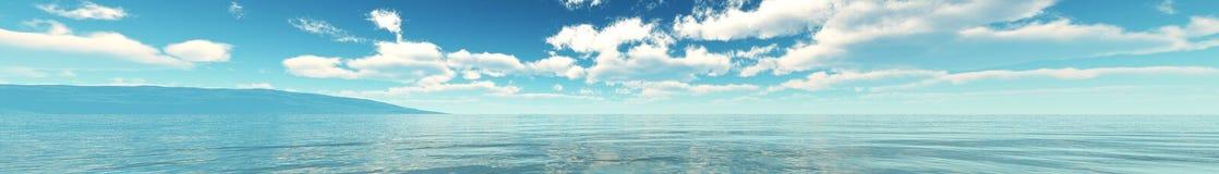Beau paysage marin Vue de mer lumière au-dessus de l'océan Photos libres de droits