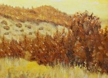 Beau paysage original et arbre de peinture à l'huile sur la toile Couleur de sépia illustration libre de droits