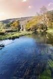 Beau paysage pittoresque d'automne de rivière dans la montagne photographie stock libre de droits