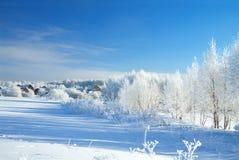 Beau paysage rural d'hiver avec le village et la forêt image stock