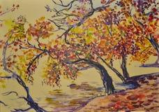 Beau paysage scénique doux peint d'automne avec l'aquarelle Images libres de droits