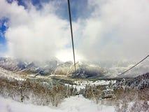 Beau paysage sur les pentes de ski Image libre de droits