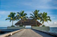 Beau paysage tropical avec la hutte en bois sur le pont avec des palmiers près de l'océan chez les Maldives Photo stock