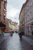 Beau paysage urbain du centre de vieux Lvov cuty Photographie stock