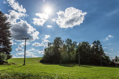 Beau paysage vert et bleu photographie stock libre de droits