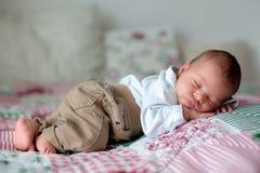 Beau petit bébé garçon nouveau-né, habillé en tant que petits messieurs, Photographie stock libre de droits