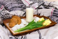 Beau petit déjeuner dans le lit Images libres de droits