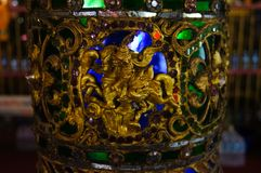 Beau pilier chez Wat Sri Rong Muang, Lampang, Thaïlande Photos libres de droits