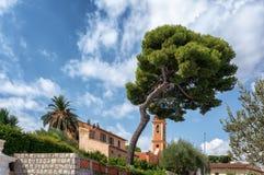 Beau pin devant l'église dans le saint de village image stock