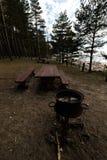 Beau pique-nique éloigné et tache campante près d'une mer baltique dans une forêt de pin avec une plage de rocher à l'arriè images libres de droits