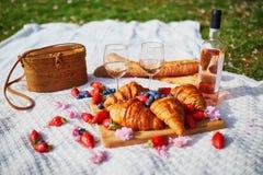 Beau pique-nique avec du vin ros?, les croissants fran?ais et les baies fra?ches image libre de droits
