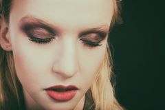Beau plan rapproché femelle d'oeil, maquillage Photographie stock