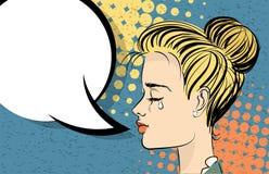 Beau pleurer blond d'art de bruit de fille illustration stock