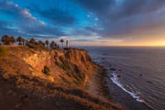 Beau point Vicente Lighthouse au coucher du soleil image libre de droits