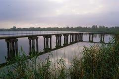 Beau pont sur la rivière au matin brumeux Images libres de droits
