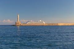 Beau port vénitien de Chania, île de Crète, Grèce Images stock