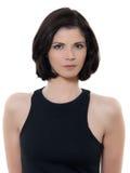 Beau portrait caucasien sérieux de femme image stock