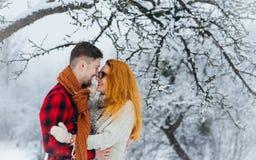 Beau portrait d'étreindre de sourire de charme des couples et de nez émouvants tout en appréciant les chutes de neige pendant l'h Image stock
