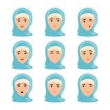 Beau portrait de femme avec diff?rentes expressions du visage illustration stock