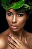 Beau portrait de femme sur le fond noir Jeune fille Afro posant avec les feuilles vertes Magnifique composez Images stock