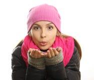Portrait de fille d'hiver d'isolement sur le fond blanc. photo stock