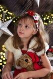 Beau portrait de Noël de petite fille Photographie stock