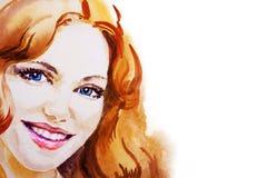 Beau portrait de sourire de femme sur le fond blanc, aquarelle Photographie stock