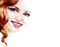Beau portrait de sourire de femme sur le fond blanc, aquarelle Image stock