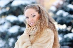 Beau portrait riant de fille dans l'horaire d'hiver photographie stock