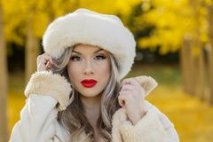 Beau Posing In modèle blond un champ des feuilles jaunes Image stock