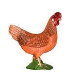 Beau poulet en caoutchouc de jouet d'isolement sur le fond blanc Collection d'animaux de ferme Images stock