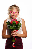 Beau professeur avec des fleurs Images libres de droits