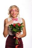 Beau professeur avec des fleurs Photos stock