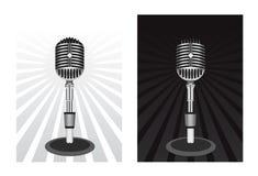 Beau rétro microphone noir de vecteur Photos libres de droits