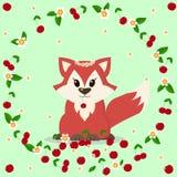 Beau renard avec des cerises et des fleurs illustration de vecteur