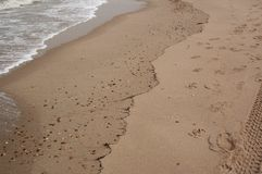 Beau ressac mou sur la plage sablonneuse Fond photo libre de droits