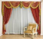Beau rideau dans la salle de séjour Images stock