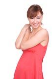 beau rouge de verticale de fille de robe Image stock