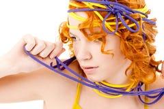 Beau roux avec la coiffure Photographie stock libre de droits