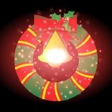 Beau ruban avec le fond de Noël et le vecteur de carte de voeux Photo libre de droits