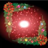 Beau ruban avec le fond de Noël et le vecteur de carte de voeux Image libre de droits