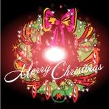 Beau ruban avec le fond de Noël et le vecteur de carte de voeux Images libres de droits