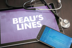 Beau's lines (cutaneous disease) diagnosis medical concept on ta Stock Photos