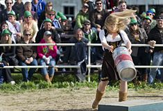 Beau's Oktoberfest 2012. Lisa Batten competing in the Keg distance throwing competition at the Beau's forth annual Oktoberfest held at Vankleek Hill fairgrounds Royalty Free Stock Image